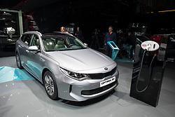 Kia Optima SW plug-in electric car at 87th Geneva International Motor Show in Geneva Switzerland 2017