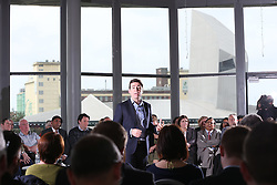 © Licensed to London News Pictures . 19/05/2016 . Salford , UK . Andy Burnham launches his campaign to be the Labour Party's candidate for Mayor of Greater Manchester , from The Compass Room at The Lowry Theatre in Salford . Photo credit : Joel Goodman/LNP