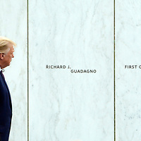 President Donald Trump and First Lady Melania Trump walks along the Wall of Names after the Flight 93 National Memorial  ceremony for the 19th observance of the 911 terrorist attack on America on Friday, September 11, 2020 near Shanksville, Pennsylvania. The memorial honors the 40 passengers and crew that lost their lives in the crash. Photo by Archie Carpenter/UPI