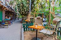 Yerevan , Armenia - August 16, 2019 : coffee shop restaurant  of Martiros Saryan street landmark of Yerevan capital city of Armenia