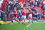 Cauley Woodrow of Barnsley (9) scores a goal and celebrates to make the score 2-0 during the EFL Sky Bet League 1 match between Barnsley and Wycombe Wanderers at Oakwell, Barnsley, England on 16 February 2019.