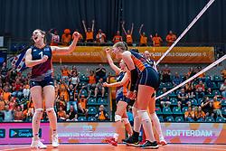 Kim Klein Lankhorst of Netherlands, Jolien Knollema of Netherlands, Elles Dambrink of Netherlands in action during Netherlands - Argentina, FIVB U20 Women's World Championship on July 10, 2021 in Rotterdam