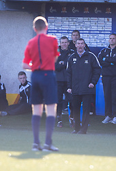 Alloa Athletic's manager Barry Smith not happy with ref Murray.<br /> Alloa Athletic 0 v 1 Hearts, Scottish Championship played at Recreation Park, Alloa.