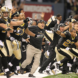 Jan 24, 2010; New Orleans, LA, USA; New Orleans Saints head coach Sean Payton along with players  celebrate following an overtime victory over the Minnesota Vikings in e 2010 NFC Championship game at the Louisiana Superdome. Mandatory Credit: Derick E. Hingle-US PRESSWIRE