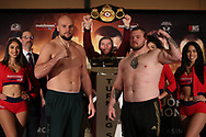 March 8, 2019; Verona, NY, USA; Sergey Kuzmin and Joey Dawejko pose after weighing in for their bout at the Turning Stone Resort and Casino in Verona, NY.  Mandatory Credit: Ed Mulholland/Matchroom Boxing USA