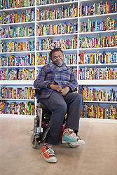"@Licensed to London News Pictures 22/03/16.Margate, Kent. Yinka Shonibare MBE displays one of his sculptural work titled ""The British Library"" at Turner Contemporary gallery in Margate, Kent. This piece of work is part of the 14-18 NOW programme of World War 1 Centenary Art commissions. Photo credit: Manu Palomeque/LNP"