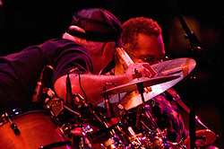 George Porter Jr. and Bill Kreutzmann sharing a moment at the 7 Walkers in Concert in The Wolfs Den at Mohegan Sun Casino on December 9, 2010