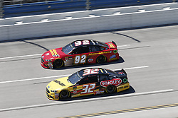 April 29, 2018 - Talladega, Alabama, United States of America - Matt DiBenedetto (32)  battles side by side down the front stretch for position during the GEICO 500 at Talladega Superspeedway in Talladega, Alabama. (Credit Image: © Justin R. Noe Asp Inc/ASP via ZUMA Wire)