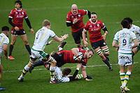 Rugby Union - 2020 / 2021 Gallagher Premiership - Gloucester vs Northampton Saints - Kingsholm<br /> <br /> Gloucester's Ruan Ackermann is tackled by Northampton Saints' Dan Biggar.<br /> <br /> COLORSPORT/ASHLEY WESTERN
