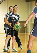 Dan Carter during a game of basketball before the pool session. Rugby - All Blacks pool session at QEII pool, Christchurch. Monday 2 August 2010. Photo: Joseph Johnson/PHOTOSPORT