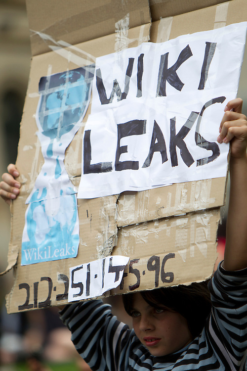 Protesters gather at the State Library of Victoria to speak out against international actions taken against the website Wikileaks and its founder Julian Assange in the aftermath of the release of diplomatic cables via cablegate.