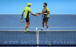 Jean-Julien Rojer and Horia Tecau during day five of the NITTO ATP World Tour Finals at the O2 Arena, London.