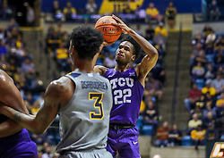 Jan 14, 2020; Morgantown, West Virginia, USA; TCU Horned Frogs guard RJ Nembhard (22) shoots a jumper during the first half against the West Virginia Mountaineers at WVU Coliseum. Mandatory Credit: Ben Queen-USA TODAY Sports