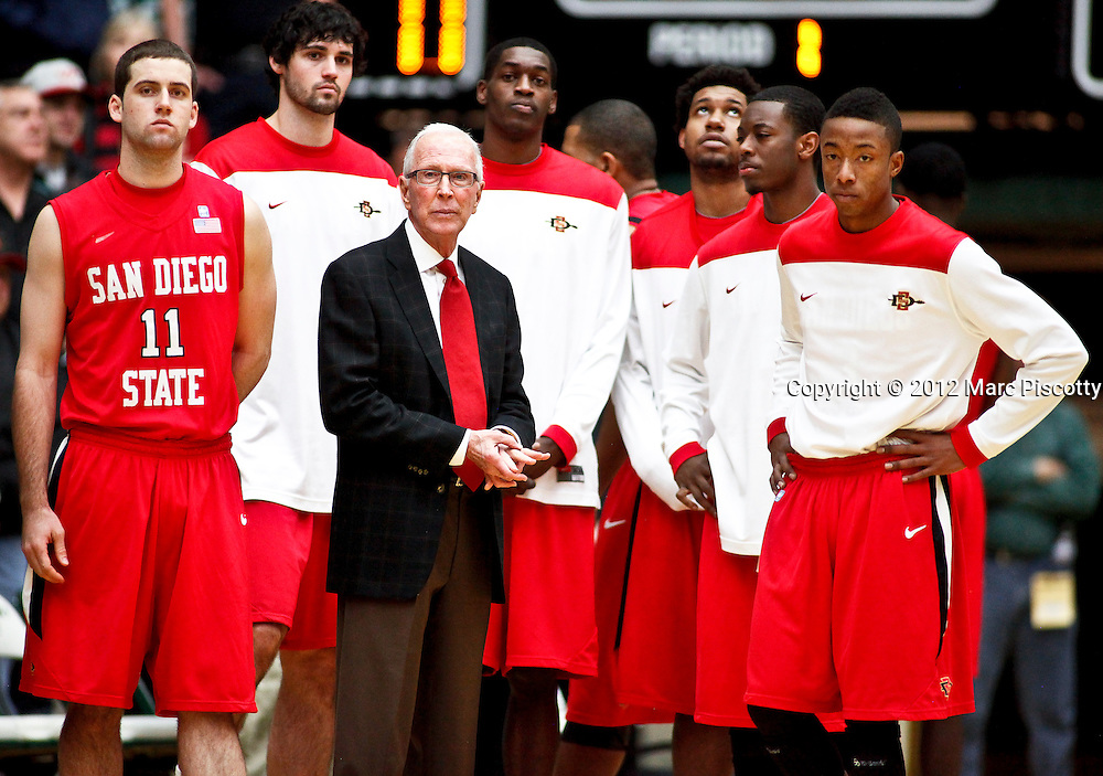 SHOT 1/28/12 3:06:16 PM - San Diego State University head basketball coach Steve Fisher with his team before taking on Colorado State during their regular season Mountain West conference game at Moby Arena in Fort Collins, Co. Colorado State upset 12th ranked San Diego State 77-60. (Photo by Marc Piscotty / © 2012)
