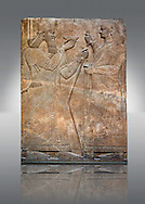 Assyrian relief sculpture panel  of King  Ashurnasirpal II demonstrating his perfect kingship by raising a ritual bowl whilst an attendant waves a whisk to maintain the king's purity.  From Nimrud, Iraq.  865-860 B.C North West Palace.  British Museum Assyrian  Archaeological exhibit. .<br /> <br /> If you prefer to buy from our ALAMY PHOTO LIBRARY  Collection visit : https://www.alamy.com/portfolio/paul-williams-funkystock/ancient-assyria-antiquities.html  Refine search by adding background colour, place, subject, museum etc into the LOWER SEARCH WITHIN GALLERY box to <br /> <br /> Visit our ANCIENT ASSYRIAN PHOTO COLLECTIONS for more photos to download or buy as wall art prints https://funkystock.photoshelter.com/gallery-collection/Ancient-Assyrian-Art-Artefacts-Antiquities-Historic-Sites-Pictures-Images-of/C0000cjRqQyJjLag