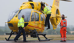 The Duke of Cambridge as he begins his new job with the East Anglian Air Ambulance (EAAA) at Cambridge Airport.