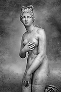 Close up  of a 2nd century AD Roman marble sculpture of Aphrodite (Venus), 'Dresden Capitoline Type, copied from a Hellanistic Greek original,  inv 6238, Museum of Archaeology, Italy. Black and White Wall art print by Photographer Paul E Williams