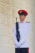 Soldier stands guard during the Remembrance Day ceremony at the Kranji War Memorial, Singapore, Nov. 13, 2011.