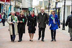 Pictured: John Wilson, Caroline Lucas, Maggie Chapman, Mark Ruskell and Kirsten Robb on a walkabout in Falkirk<br /> <br /> As part of her visit to Scotland to support Greens candidates in the Scottish election, Green MP Caroline Lucas joined Scottish Greens colleagues Maggie Chapman, Greens co-convener, Mark Ruskell, candidate for Mid Scotland and Fife, Kirsten Robb, candidate for Central Scotland and John Wilson, candidate for Central Scotland, to meet anti-fracking campaigners in Falkirk <br /> <br /> Ger Harley | EEm 29 April 2016