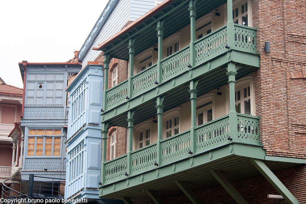 georgian houses with balcons in Tbilisi, particular of houses facades