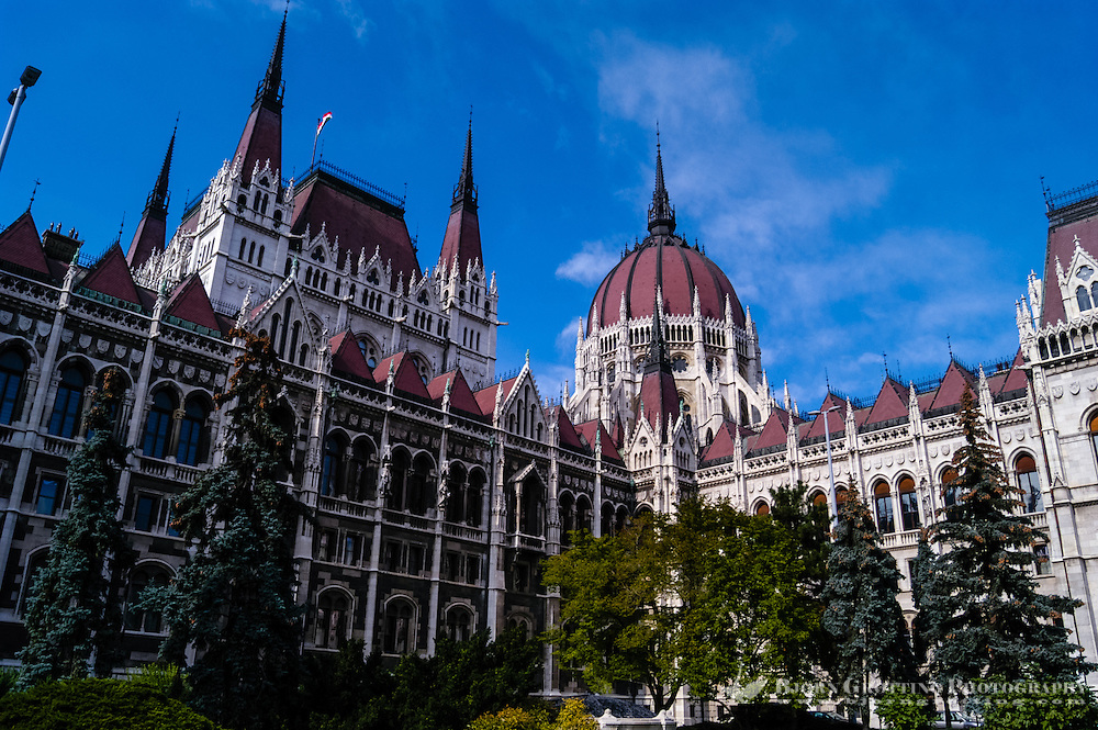 Budapest, Hungary.  The Hungarian Parliament Building on the bank of the Danube River.