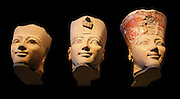 Three Heads from Osiride Statues, originally positioned in the Upper Court Niches, Dynasty 18, joint reign of Hatshepsut and Thutmose 111 (ca1473-1458 B.C.) Painted limestone.