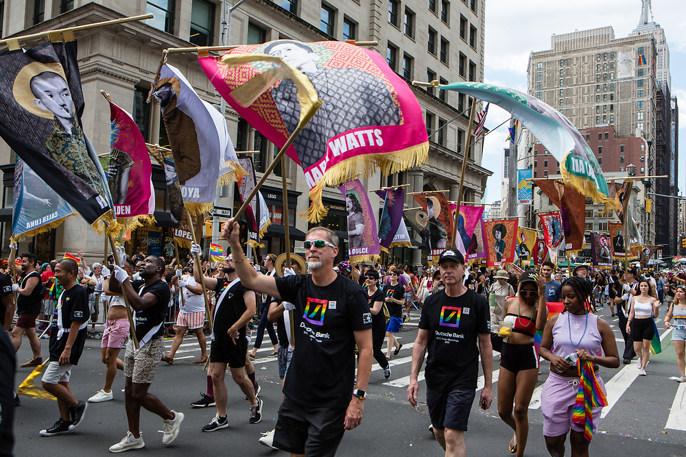 New York, NY - 30 June 2019. The New York City Heritage of Pride March filled Fifth Avenue for hours with participants from the LGBTQ community and it's supporters. Marchers carry banners in memory of people in the LGBTQ community who have died.