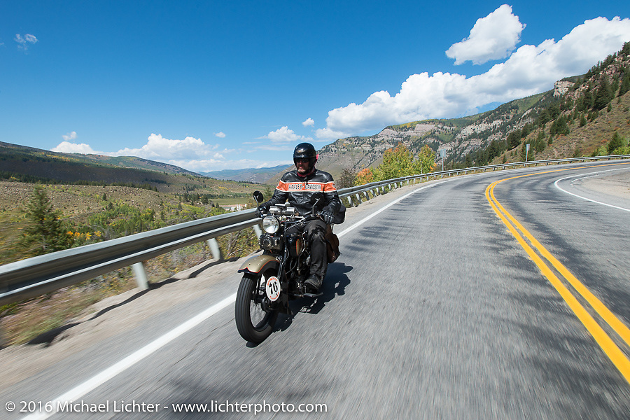 """Robert Gustavsson or """"Big Swede"""" as he is fondly known, riding his 1931 Harley-Davidson VL during Stage 10 (278 miles) of the Motorcycle Cannonball Cross-Country Endurance Run, which on this day ran from Golden to Grand Junction, CO., USA. Monday, September 15, 2014.  Photography ©2014 Michael Lichter."""