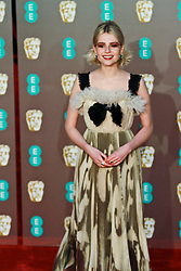 Lucy Boynton poses on the red carpet ahead of the 2019 British Academy Film Awards at the Royal Albert Hall in London, England on 10th Feburary 2019. ©Ben Booth/Edinburgh Elite media