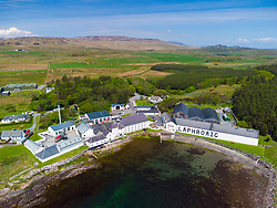 Aerial view from drone of Laphroaig scotch whisky distillery at Kildalton on Islay , Inner Hebrides , Scotland, UK