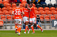 Blackpool defender Curtis Tilt (16) scores a goal and celebrates to make the score 1-0 during the EFL Sky Bet League 1 match between Blackpool and AFC Wimbledon at Bloomfield Road, Blackpool, England on 20 October 2018.