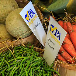 Harrosburg, PA, USA - January 13. 2015: Baskets of fresh vegetables at the PA Frm Show