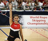 Loughborough, England - Saturday 31 July 2010: Natalie Fioretto of the USA finishes off a Double Dutch routine during the World Rope Skipping Championships held at Loughborough University, England. The championships run over 7 days and comprise junior categories for 12-14 year olds in the World Youth Tournament, 15-17 year olds male and female championships, and any age open championships. In the team competitions, 6 events are judged, the Single Rope Speed, Double Dutch Speed Relay, Single Rope Pair Freestyle, Single Rope Team Freestyle, Double Dutch Single Freestyle and Double Dutch Pair Freestyle. For more information check www.rs2010.org. Picture by Andrew Tobin/Picture It Now.