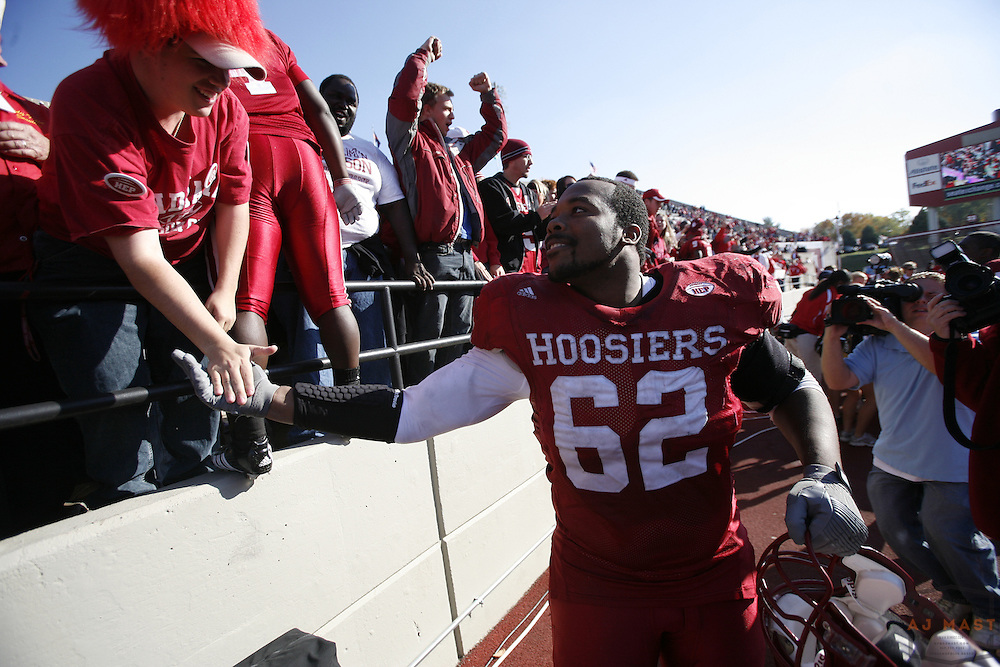 03 November 2007: Indiana defensive tackle Greg Brown (62) as the Indiana Hoosiers played the Ball State Cardinals  in a college football game in Bloomington, Ind. Indiana won 38-20.