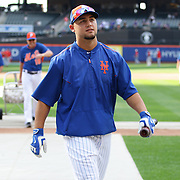 Michael Conforto, New York Mets, at batting practice before the New York Mets Vs Washington Nationals. MLB regular season baseball game at Citi Field, Queens, New York. USA. 1st August 2015. Photo Tim Clayton