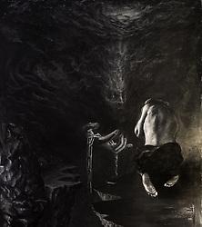 "For ABAZAGORATH. Acrylic, mixed media on paper 48"" x 55"" (122 cm x 140 cm) 2/15/14"