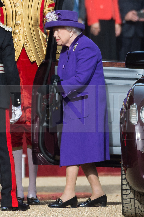 © Licensed to London News Pictures. 23/10/2018. London, UK. Queen Elizabeth II attends a ceremonial welcome at Horse Guard Parade in honour of His Majesty King Willem-Alexander and Her Majesty Queen Maxima of the Netherlands..Photo credit: Ray Tang/LNP