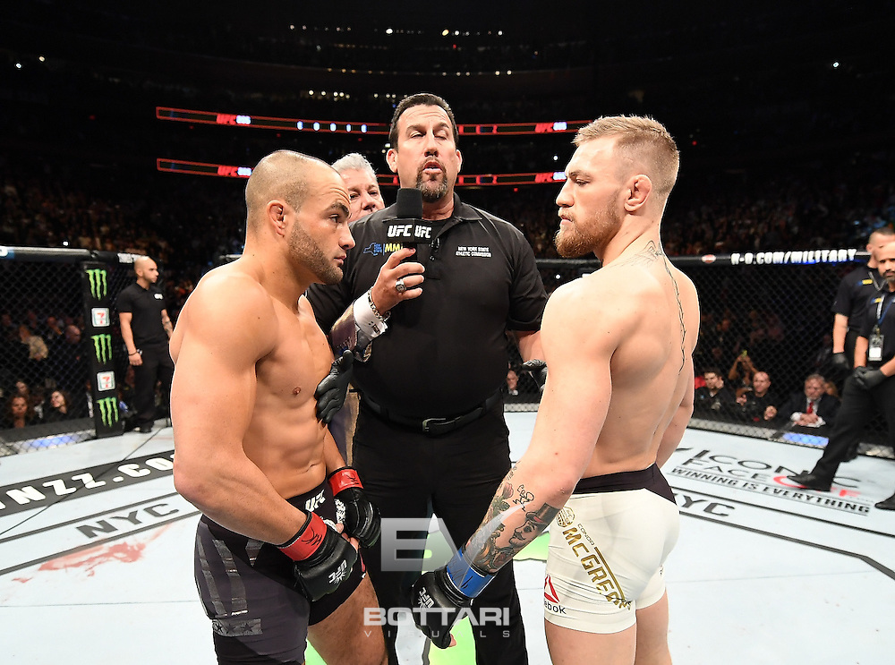 NEW YORK, NY - NOVEMBER 12:  Eddie Alvarez of the United States (left) prepares for his fight against Conor McGregor of Ireland in their lightweight championship bout during the UFC 205 event at Madison Square Garden on November 12, 2016 in New York City.  (Photo by Jeff Bottari/Zuffa LLC/Zuffa LLC via Getty Images)