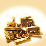 A stack of shining gold bullion
