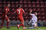 Bradford City defender Anthony O'Connor (6) and Leyton Orient's Jobi McAnuff(7) battles for possession during the EFL Sky Bet League 2 match between Leyton Orient and Bradford City at the Breyer Group Stadium, London, England on 24 November 2020.