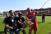 Presentation du Trophee aux Supporters/ Mourad Boudjellal / Delon Armitage / Ali Williams - 09.05.2015 - Toulon / Castres  - 24eme journee de Top 14 <br />Photo :  Alexandre Dimou / Icon Sport
