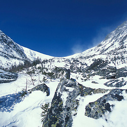 """The bowl in Tuckerman Ravine as seen from the top of the """"Little Headwall.""""  White Mountain National Forest.  Mount Washington. Mt. Washington, NH"""