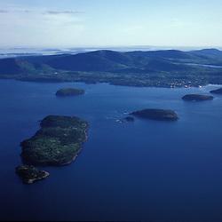 Acadia N.P., ME. Aerial. Porcupine Islands in Frenchman Bay.