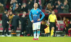 Jack Wilshere of Arsenal cuts a dejected figure after defeat to Cologne - Mandatory by-line: Robbie Stephenson/JMP - 23/11/2017 - FOOTBALL - RheinEnergieSTADION - Cologne,  - Cologne v Arsenal - UEFA Europa League Group H