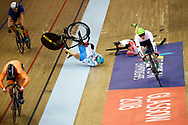 Men Keirin, Norbert Szabo (Romania) - Joachim Eilers (Germany) - Sandor Szalontay (Hungary) crash - Sergii Omelchenko (Azerbaijan) crash - Sam Ligtlee (Netherlands), during the Track Cycling European Championships Glasgow 2018, at Sir Chris Hoy Velodrome, in Glasgow, Great Britain, Day 6, on August 7, 2018 - Photo luca Bettini / BettiniPhoto / ProSportsImages / DPPI<br /> - Restriction / Netherlands out, Belgium out, Spain out, Italy out -