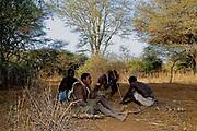 Hadzabe bushmen hunting. Lake Eyasi, northern Tanzania.