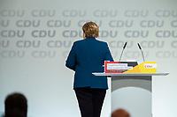 07 DEC 2018, HAMBURG/GERMANY:<br /> Angela Merkel, CDU, Bundeskanzlerin, verlaesst das Rednerpult, nach Ihrer letzten Rede als Parteivorsitzende, CDU Bundesparteitag, Messe Hamburg<br /> IMAGE: 20181207-01-033<br /> KEYWORDS: party congress, specch