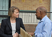 SOUTH BERMONDSEY, LONDON:  Evette Cooper talks to a resident. Ed Balls, Labour Leadership candidate joins shadow housing minister John Healey and  shadow work and pensions secretary Yvette Cooper  during a visit to a housing development, The Falcon Works development, in central London on 31 August 2010. STEPHEN SIMPSON..