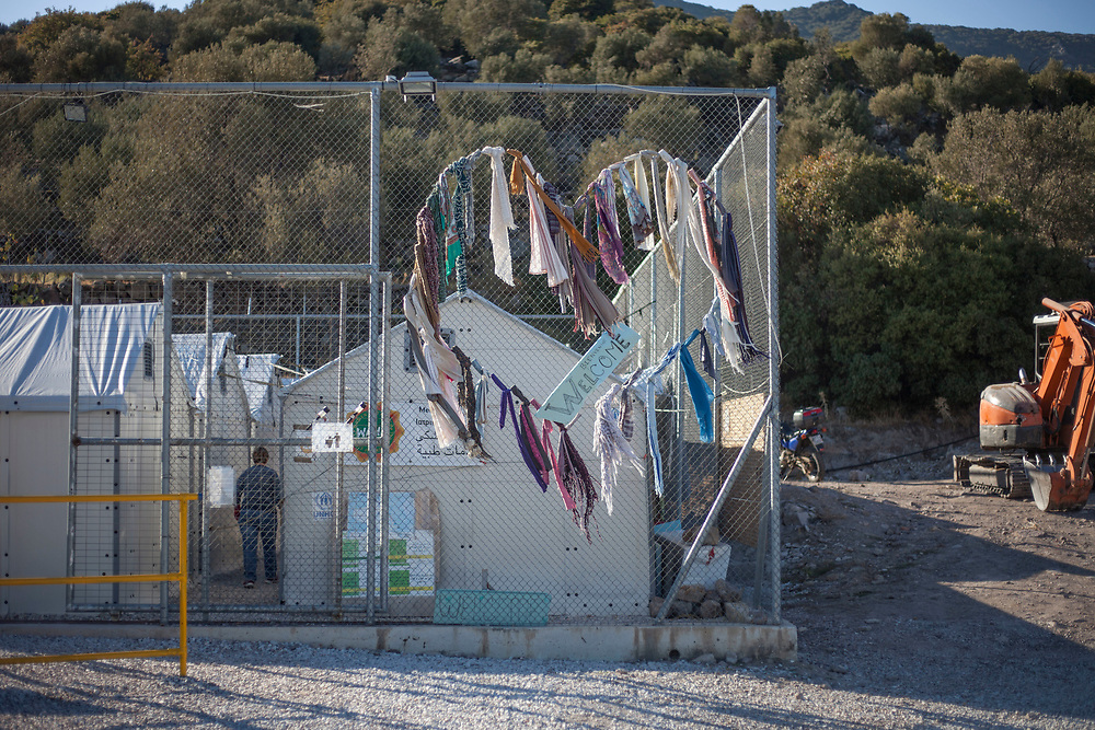A U.N second stage refugee camp stands mostly empty in northern Lesvos. Its main function was to provide first treatment to those who arrive on the island such as medical aid and dry clothing. After in recent week only sporadic arrivals have been documented, its current tenants are a local cleaning lady and a U.N security guard.