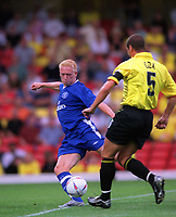 Mikael Forssell scores the 1st goal for Chelsea. Watford v Chelsea, Pre-Season Friendly, 5/08/2003. Credit: Colorsport / Matthew Impey